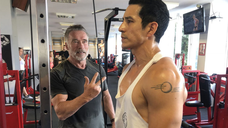 Arnold Schwarzenegger training Gabriel Luna for